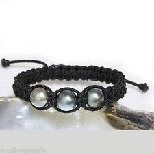 Tahitian  Pearl  Bracelet  Macrame / Shamballa Adjustable