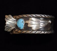 Handcrafted Watch Cuff, Old Pawn/Estate Navajo Sterling Silver and Turquoise