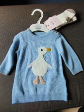 M&S 100%Cotton Knitted L/Sleeved 'Duck' Dress & Tights 0-3m 62cm Blue Mix BNWT