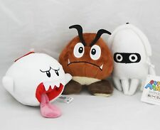 Super Mario Bros Goomba Blooper Boo Ghost Soft Figure Plush Doll Set of 3 pcs