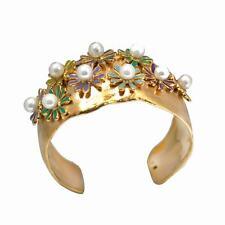 De Buman 14K Yellow Gold Plated Pearl & Enamel Cuff Bracelet