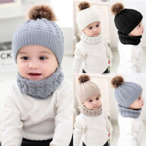 New Kids Baby Boy Girls Fur Pom Hat Winter Warm Knit Bobble Beanie Cap Scarf  MD