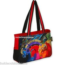 Laurel Burch Horses Wild Fire Medium Lg Tote Bag Arabian Mustang Peruvian Paint