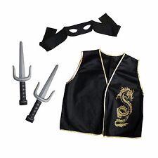 Kids Samurai Ninja Warrior Costume Shogun Dragon Outfit Accessory Set + Daggers