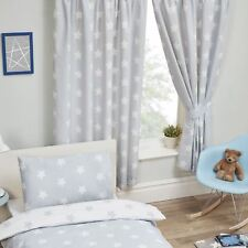 "GREY AND WHITE STARS CURTAINS LINED 66"" x 54"" KIDS BEDROOM"