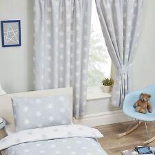 gris y Blanco Estrellas cortinas forradas 168cm x 137cm DORMITORIO INFANTIL
