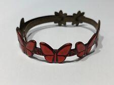 JUS - Pulsera de Piel con Mariposas en Rojo - Red Butterfly Leather Bracelet