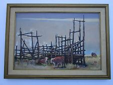 LARGE COW PAINTING MODERNISM IMPRESSIONISM SIGNED MYSTERY ARTIST VINTAGE UNIQUE