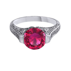 3.46ct 9K White Gold Over Simulated Round Pink Tourmaline Solitaire Ring October