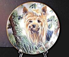 Vintage Yorkshire Terriers ''Into The Woods'' Yorkie Dog Danbury Mint 8'' Plate