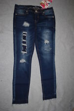 Jr Womens DARK BLUE RIPPED SKINNY JEANS Patched ALMOST FAMOUS Released Hem SZ 3