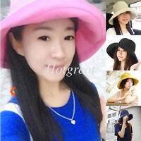 Ladies Wide Brim Sun Hat Beach Cotton Bucket Summer Protection Foldable Cap Gift