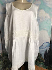 ELLOS PLUS NEW 4X WHITE TEXTURED FLORAL TRIM SCOOP NECK SLEEVELESS TUNIC TOP