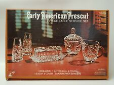ANCHOR HOCKING EARLY AMERICAN PRESCUT 7 PIECE TABLE SERVICE SET NIB