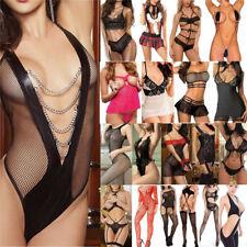 Plus Size Women Sexy Lingerie Lace Dress Underwear Babydoll Sleepwear+G-string