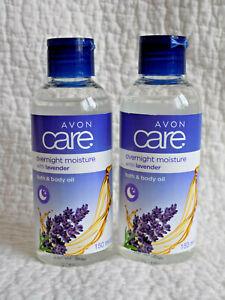 AVON CARE ~ 2 x OVERNIGHT MOISTURE BATH & BODY OILS WITH LAVENDER 150ml each NEW