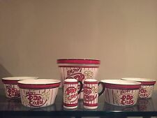 Tabletops Unlimited Popcorn For 4 Set - 1 Bucket 4 Bowls  2 Shakers  Movie Night