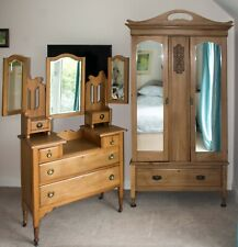 More details for antique pine dressing table and wardrobe - victorian or edwardian