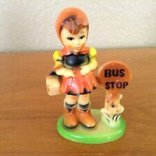 Vtg~Collectible~Girl at Bus Stop~Figurine~Hummel Style~Celluloid Hard Plastic