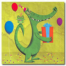 JUNGLE FROLIC LUNCH NAPKINS (16) ~ Birthday Party Supplies Animals Dinner Green
