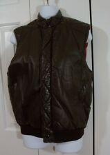 Saxony Chocolate Brown Leather Sleeveless Vest Womens 38 Medium Zip Front Jacket