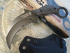United Death Before Dishonor Stonewash Karambit Knife Full Tang Micarta Kydex