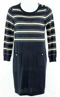 Ellen Tracy Sz L Navy Gold Acrylic Wool Blend Pocketed Knit Dress I332