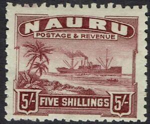 NAURU 1924 SHIP 5/- ROUGH PAPER