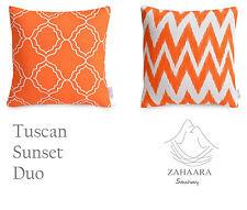 2 x Orange White Cushion Covers Moroccan IKAT Chevron Zig Zag Bright Sunny