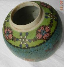 Totale dell'era Maji PORCELLANA Ginger Vaso con fiori su base blu firmato NO COPERCHIO