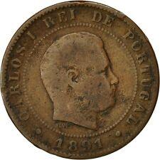 [#541111] Monnaie, Portugal, Carlos I, 10 Reis, 1891, Portugal Mint, Paris, TB