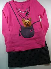 Old Navy Bright Pink Yorkie Dog Top Gray Heart Lined Skirt Sz 6 7 Outfit Lot G2
