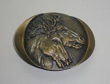 Horse Heads Racing Stallions Belt Buckle-Vintage Collectible Indiana Metal Craft