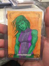 2018 Marvel Masterpieces She-Hulk Sketch Card by Marlo Agunos