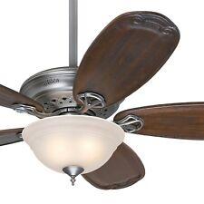 "54"" Hunter Antique Pewter Ceiling Fan with Light - Blackened Pecan Fan Blades"