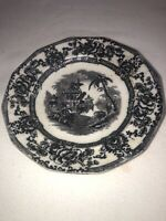 """Antique Flow Mulberry Transfer Ware Sauce Plate 8.5"""" Cyprus Ironstone Black"""