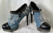 LADIES 1 to 3 FAUX LEATHER & DENIM MIX STILETTO HIGH HEEL STUDDED SHOES Size 37