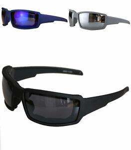 Herren Sonnenbrille Motorrad schwarz Sport Fahrrad Bikerbrille gepolstert  55402