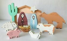 Nativity Crêche Christmas Scene Holy Family Animals Stable with Saguaro Cactus