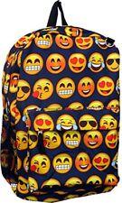 "Track Emoji Boys & Girls 16"" Canvas  Navy Blue Backpack All Over Print Book Bag"