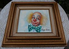 Vintage Roger Hines Clown Oil Painting Framed Listed Artist Signed