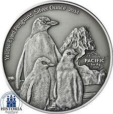 Pazifik Serie: Tokelau 5 Dollars Silber 2014 Antique Finish - Gelbaugenpinguin