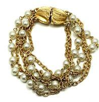 Vintage Multi Strand Gold Tone Chain Faux Pearl Bracelet