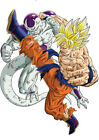 STICKER POSTER MANGA DRAGON BALL Z.SANGOKU-SON GOKU SUPER SAYAN VS FREEZER 100%.