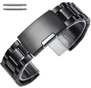 Steel Bracelet 19mm 21mm 23mm Black Metal Replacement Watch Band Strap 5016