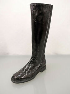 POLLINI Lackleder Stiefel Gr.38,5 Budapester Art Stretcheinsatz Boots Schwarz