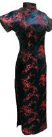 UK Stock Black & Burgundy Cherry Blossom Chinese Long Evening Party Dress