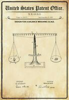 US Patent Waage Weighing Scale 1885 Blechschild Schild Metal Tin Sign 20 x 30 cm