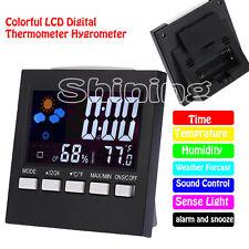 Temperature Meter Humidity Thermometer Hygrometer Digital LCD Indoor Clock Gauge