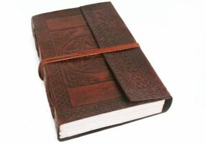 Camel Hide Leather Journal David, A5 Plain Pages - Handmade by Life Arts